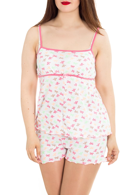 ПижамаПижамы<br>Домашная пижама (майка + шорты). Домашняя одежда, прежде всего, должна быть удобной, практичной и красивой. В комплекте Вы будете чувствовать себя комфортно, особенно, по вечерам после трудового дня. Ростовка 158-164 см.  Цвет: белый, розовый  Рост девушки-фотомодели 180 см<br><br>Бретели: Тонкие бретели<br>По рисунку: Цветные,С принтом<br>По сезону: Весна,Зима,Лето,Осень,Всесезон<br>По силуэту: Полуприталенные<br>По форме: Брючные,Костюм двойка<br>По длине: До колена<br>Рукав: Без рукавов<br>По материалу: Трикотаж,Хлопок<br>Размер : 40,42,44,46,50<br>Материал: Трикотаж<br>Количество в наличии: 6
