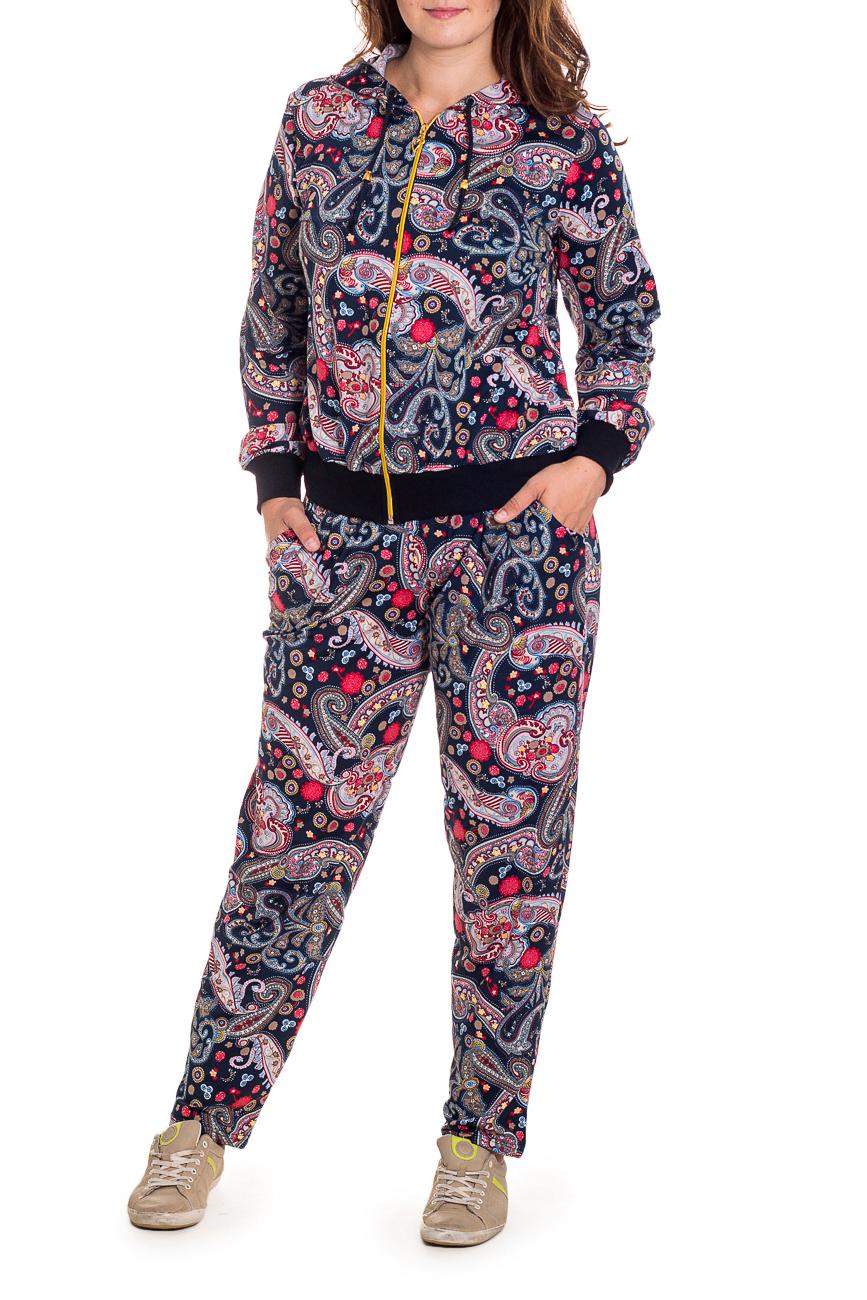 КостюмСпортивные костюмы<br>Спортивный костюм из эластичного трикотажа. Отличный выбор для занятий спортом или активного отдыха.  В изделии использованы цвета: синий, коралловый, голубой и др.  Рост девушки-фотомодели 180 см.<br><br>Застежка: С молнией<br>По материалу: Трикотаж<br>По рисунку: С принтом,Цветные,Этнические<br>По силуэту: Полуприталенные<br>По стилю: Молодежный стиль,Спортивный стиль<br>По форме: Костюм двойка,Спортивные брюки<br>По элементам: С капюшоном,С карманами,С манжетами<br>Рукав: Длинный рукав<br>По сезону: Осень,Весна<br>Размер : 42,50,52,54,60<br>Материал: Трикотаж<br>Количество в наличии: 14