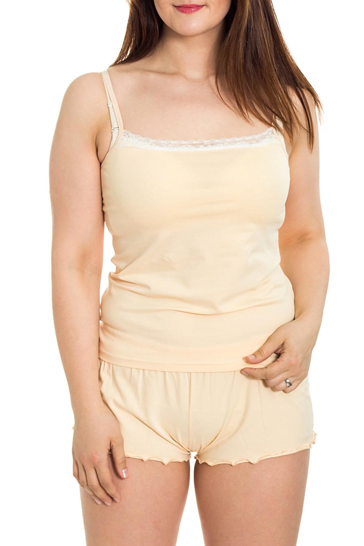 КомплектКомплекты и костюмы<br>Хлопковый комплект состоит из майки и шорт. Домашняя одежда, прежде всего, должна быть удобной, практичной и красивой. В комплекте Вы будете чувствовать себя комфортно, особенно, по вечерам после трудового дня.  Цвет: желтый  Рост девушки-фотомодели 180 см.<br><br>Бретели: Тонкие бретели<br>По рисунку: Однотонные<br>По силуэту: Полуприталенные<br>По форме: Брючные,Костюм двойка<br>По сезону: Лето<br>По длине: До колена<br>По материалу: Трикотаж,Хлопок<br>Рукав: Без рукавов<br>Размер : 46,48,50<br>Материал: Трикотаж<br>Количество в наличии: 7