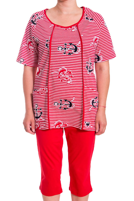 КомплектКомплекты и костюмы<br>Хлопковый комплект состоит из бридж и туники. Домашняя одежда, прежде всего, должна быть удобной, практичной и красивой. В наших изделиях Вы будете чувствовать себя комфортно, особенно, по вечерам после трудового дня.  В изделии использованы цвета: красный, белый, черный  Рост девушки-фотомодели 170 см<br><br>Горловина: С- горловина<br>По рисунку: В полоску,Цветные,С принтом<br>По сезону: Весна,Зима,Лето,Осень,Всесезон<br>По силуэту: Полуприталенные<br>По элементам: С карманами<br>Рукав: Короткий рукав<br>По материалу: Хлопок<br>Размер : 48<br>Материал: Хлопок<br>Количество в наличии: 1