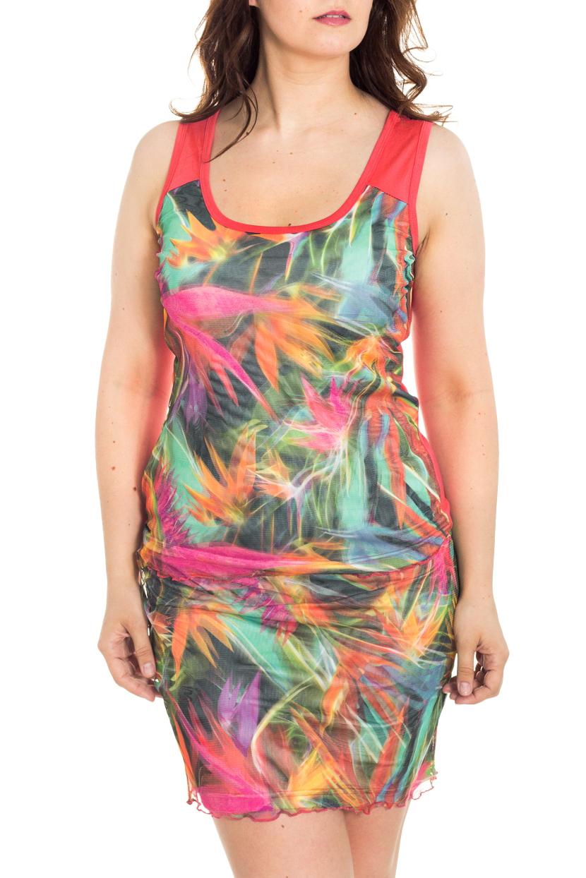 КостюмКостюмы<br>Яркий женский костюм (майка + юбка) приталенного кроя - это дивный вариант на лето. Украшена модель контрастным рисунком.  Цвет: коралловый, мультицвет  Рост девушки-фотомодели 180 см<br><br>Бретели: Широкие бретели<br>Горловина: С- горловина<br>По длине: До колена<br>По материалу: Трикотаж,Гипюр<br>По рисунку: Растительные мотивы,С принтом,Цветные,Цветочные<br>По силуэту: Приталенные<br>По стилю: Повседневный стиль,Летний стиль<br>По форме: Костюм двойка,Брючный костюм<br>Рукав: Без рукавов<br>По сезону: Лето<br>По элементам: С подкладом<br>Размер : 44,46<br>Материал: Трикотаж + Гипюровая сетка<br>Количество в наличии: 4