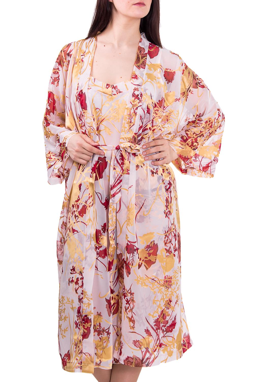 КомплектКомплекты и костюмы<br>Комплект состоит из пеньюара и сорочки.  Изысканная сорочка на элегантных тонких бретелях. Модель выполнена из легкого и нежного материала. Эта женственная модель добавит Вам нежности и соблазнительности.  Рост девушки-фотомодели 180 см  Цвет: бежевый, красный<br><br>Бретели: Тонкие бретели<br>Горловина: Запах<br>По рисунку: Растительные мотивы,Цветные,Цветочные,С принтом<br>По сезону: Весна,Всесезон,Зима,Лето,Осень<br>По силуэту: Полуприталенные<br>По форме: Костюм двойка<br>Рукав: Рукав три четверти<br>По длине: Ниже колена<br>По материалу: Шифон<br>Размер : 58<br>Материал: Шифон<br>Количество в наличии: 1