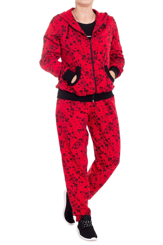 КостюмСпортивные костюмы<br>Спортивный костюм из эластичного трикотажа. Отличный выбор для занятий спортом или активного отдыха.  В изделии использованы цвета: красный, черный  Ростовка изделия 170 см<br><br>Застежка: С молнией<br>По длине: Макси<br>По материалу: Трикотаж,Хлопок<br>По рисунку: Растительные мотивы,С принтом,Цветные,Цветочные<br>По сезону: Весна,Зима,Лето,Осень,Всесезон<br>По силуэту: Полуприталенные<br>По стилю: Повседневный стиль<br>По форме: Костюм двойка,Спортивные брюки<br>По элементам: С карманами,С манжетами,С капюшоном<br>Рукав: Длинный рукав<br>Размер : 44<br>Материал: Трикотаж<br>Количество в наличии: 1