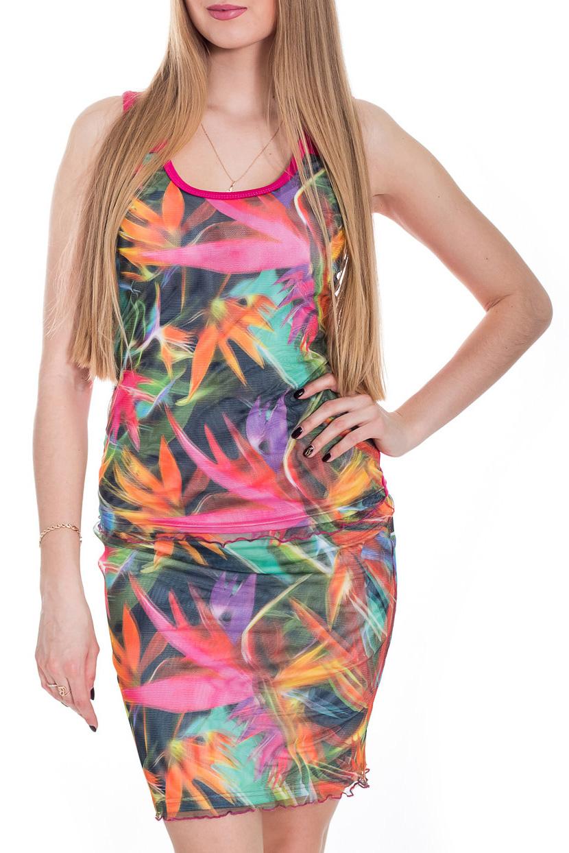 КостюмКостюмы<br>Яркий женский костюм (майка + юбка) приталенного кроя - это дивный вариант на лето. Украшена модель контрастным рисунком.  Цвет: розовый и др.  Рост девушки-фотомодели 170 см<br><br>Бретели: Широкие бретели<br>Горловина: С- горловина<br>По длине: До колена<br>По материалу: Трикотаж,Гипюр<br>По образу: Город,Свидание<br>По рисунку: Растительные мотивы,С принтом,Цветные,Цветочные<br>По силуэту: Приталенные<br>По стилю: Летний стиль,Молодежный стиль,Повседневный стиль<br>По форме: Костюм двойка,Юбочные<br>По элементам: С декором,С подкладом<br>Рукав: Без рукавов<br>По сезону: Лето<br>Размер : 44<br>Материал: Трикотаж + Гипюровая сетка<br>Количество в наличии: 1