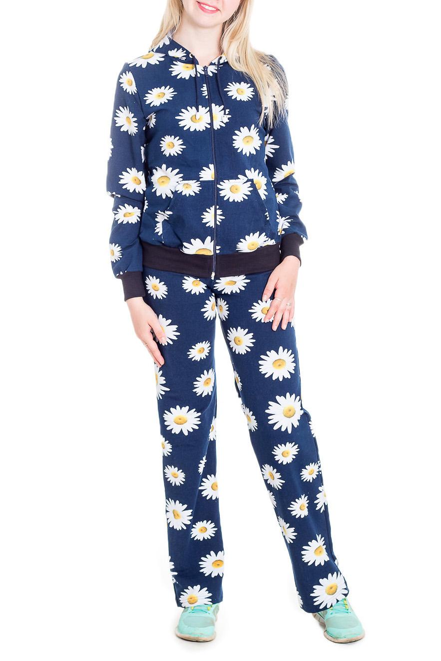 КостюмСпортивные костюмы<br>Спортивный костюм из эластичного трикотажа. Отличный выбор для занятий спортом или активного отдыха.  В изделии использованы цвета: синий, белый и др.  Рост девушки-фотомодели 170 см.<br><br>Застежка: С молнией<br>По длине: Макси<br>По материалу: Трикотаж,Хлопок<br>По рисунку: Растительные мотивы,С принтом,Цветные,Цветочные<br>По силуэту: Полуприталенные<br>По стилю: Спортивный стиль<br>По форме: Костюм двойка,Спортивные брюки<br>По элементам: С капюшоном,С карманами,С манжетами<br>Рукав: Длинный рукав<br>По сезону: Осень,Весна<br>Размер : 44,46<br>Материал: Трикотаж<br>Количество в наличии: 2