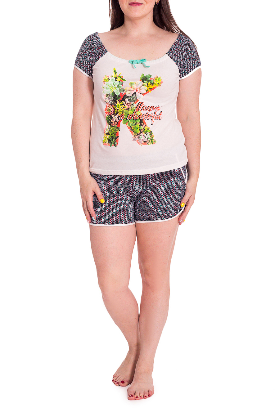 КостюмКомплекты и костюмы<br>Удобный домашний комплект состоит из футболки и шорт. Модель выполнена из хлопкового материала. Отличный выбор для домашнего отдыха.В изделии использованы цвета: белый, черный, красный и др.Рост девушки-фотомодели 172 см.<br><br>Горловина: С- горловина<br>Длина: До колена<br>Материал: Трикотаж,Хлопок<br>Рисунок: Растительные мотивы,С принтом,Цветные,Цветочные<br>Рукав: Короткий рукав<br>Сезон: Весна,Зима,Лето,Осень,Всесезон<br>Силуэт: Полуприталенные<br>Форма: Брючный костюм,Костюм двойка<br>Размер : 46,48,50<br>Материал: Трикотаж<br>Количество в наличии: 15