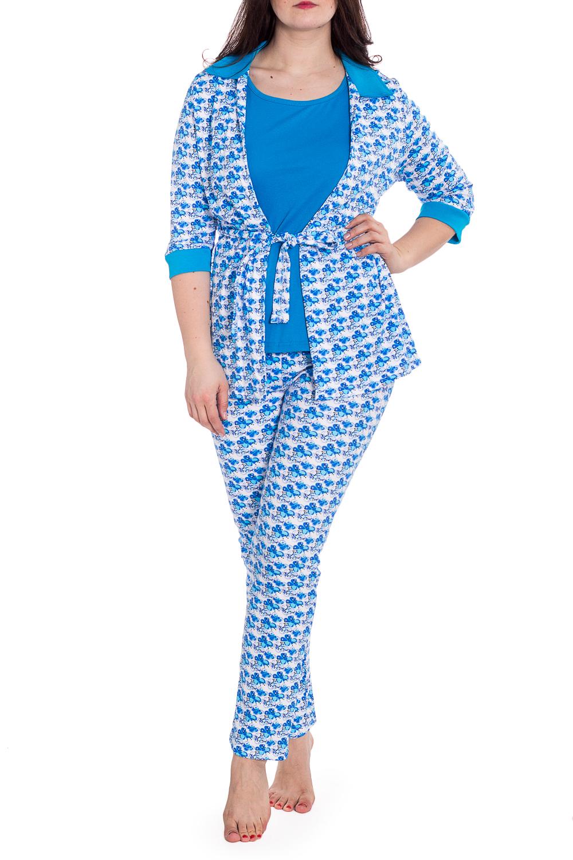 КомплектКомплекты и костюмы<br>Трикотажный комплект состоит из брюк, майки и халата. Домашняя одежда, прежде всего, должна быть удобной, практичной и красивой. В наших изделиях Вы будете чувствовать себя комфортно, особенно, по вечерам после трудового дня.  В изделии использоованы цвета: голубой, белый  Рост девушки-фотомодели 180 см.<br><br>Горловина: С- горловина<br>По длине: Макси<br>По материалу: Хлопок<br>По рисунку: С принтом,Цветные<br>По сезону: Весна,Зима,Лето,Осень,Всесезон<br>По силуэту: Полуприталенные<br>По форме: Брючный костюм,Костюм тройка<br>По элементам: С манжетами<br>Рукав: Рукав три четверти<br>Размер : 56,58<br>Материал: Хлопок<br>Количество в наличии: 2