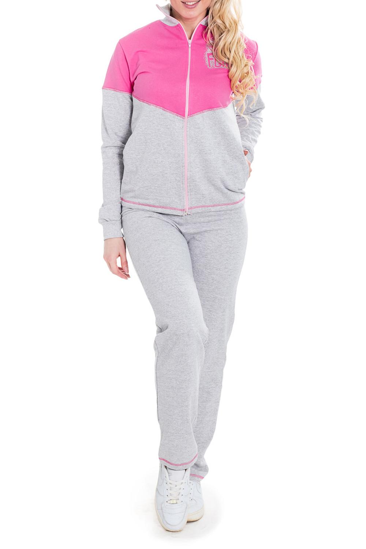 КостюмКомплекты и костюмы<br>Хлопковый костюм состоит из кофты и брюк. Домашняя одежда, прежде всего, должна быть удобной, практичной и красивой. В наших изделиях Вы будете чувствовать себя комфортно, особенно, по вечерам после трудового дня.  Цвет: серый, розовый.  Рост девушки-фотомодели - 170 см<br><br>Воротник: Стойка<br>Горловина: V- горловина<br>По материалу: Трикотаж,Хлопок<br>По рисунку: Однотонные,С принтом<br>По сезону: Весна,Зима,Лето,Осень,Всесезон<br>По силуэту: Полуприталенные<br>По форме: Брючные<br>По элементам: С карманами,С молнией<br>Рукав: Длинный рукав<br>Размер : 40<br>Материал: Трикотаж<br>Количество в наличии: 1