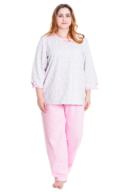 КомплектКомплекты и костюмы<br>Хлопковый комплект состоит из туники и брюк. Домашняя одежда, прежде всего, должна быть удобной, практичной и красивой. В нашей домашней одежде Вы будете чувствовать себя комфортно, особенно, по вечерам после трудового дня.  Цвет: белый, розовый  Рост девушки-фотомодели 169 см<br><br>Горловина: С- горловина<br>По длине: Макси<br>По материалу: Трикотажные,Хлопковые<br>По рисунку: Растительные мотивы,Цветные,Цветочные<br>По сезону: Весна,Осень<br>По силуэту: Свободные<br>По стилю: Повседневные<br>По форме: Брючные,Костюм двойка<br>Рукав: Рукав три четверти<br>Размер : 48,58,62<br>Материал: Трикотаж<br>Количество в наличии: 1