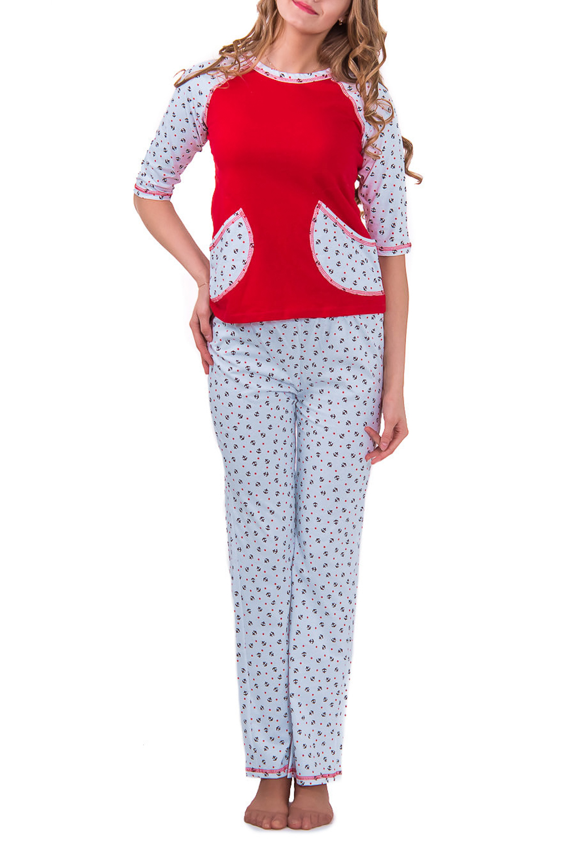 КомплектКомплекты и костюмы<br>Женский комплект с рукавами 3/4. Комплект состоит из джемпера и брюк. Домашняя одежда, прежде всего, должна быть удобной, практичной и красивой. В комплекте Вы будете чувствовать себя комфортно, особенно, по вечерам после трудового дня.  Цвет: белый с красным  Рост девушки-фотомодели 176 см<br><br>Горловина: С- горловина<br>По рисунку: Цветные,С принтом<br>По сезону: Весна,Осень<br>По силуэту: Полуприталенные<br>По форме: Костюм двойка,Брючный костюм<br>Рукав: Рукав три четверти<br>По элементам: С карманами<br>По длине: Ниже колена<br>По материалу: Трикотаж,Хлопок<br>Размер : 42,48<br>Материал: Трикотаж<br>Количество в наличии: 2