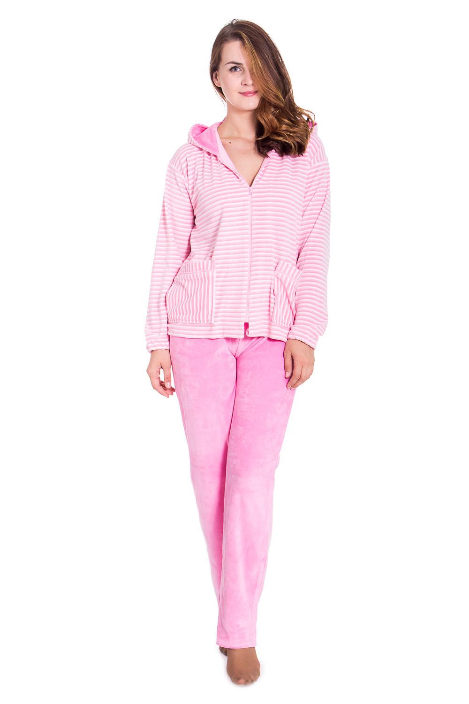 КостюмКомплекты и костюмы<br>Чудесный велюровый костюм. Домашняя одежда, прежде всего, должна быть удобной, практичной и красивой. В костюме Вы будете чувствовать себя комфортно, особенно, по вечерам после трудового дня.  Цвет: розовый, белый  Рост девушки-фотомодели 180 см<br><br>По стилю: Повседневные,Романтические,Теплые<br>По материалу: Велюровые,Хлопковые<br>По рисунку: В полоску,Цветные<br>По сезону: Зима,Осень<br>По силуэту: Полуприталенные<br>По элементам: С воротником,С декором<br>По форме: Костюм двойка,Брючные<br>По длине: Макси<br>Воротник: Рубашечный,Стояче-отложной<br>Рукав: Длинный рукав<br>Размер: 46,50,52,54,56,58<br>Материал: 80% хлопок 20% полиэстер<br>Количество в наличии: 3