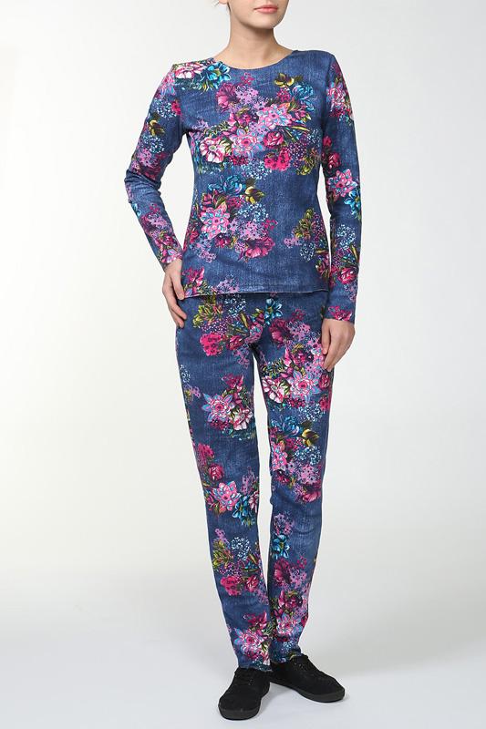 КостюмКомплекты и костюмы<br>Женский костюм с длинными рукавами. Комплект состоит из джемпера и брюк. Домашняя одежда, прежде всего, должна быть удобной, практичной и красивой. В костюме Вы будете чувствовать себя комфортно, особенно, по вечерам после трудового дня.  Цвет: синий, розовый, зеленый<br><br>По стилю: Молодежные,Повседневные,Возрастные<br>По материалу: Трикотажные,Хлопковые<br>По размеру: Большие размеры,Маленькие размеры<br>По рисунку: Цветные,Цветочные,Растительные мотивы<br>По сезону: Зима<br>По силуэту: Полуприталенные<br>По форме: Брючные,Костюм двойка<br>По длине: Макси<br>Рукав: Длинный рукав<br>Горловина: С- горловина<br>Размер: 42,46,48,50,54,56,58<br>Материал: 95% хлопок 5% лайкра<br>Количество в наличии: 4