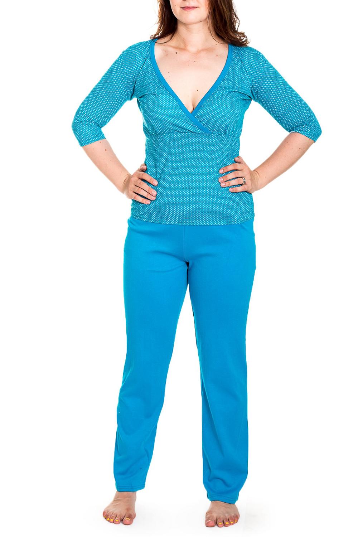 КомплектКомплекты и костюмы<br>Домашний комплект состоит из джемпера и брюк. Домашняя одежда, прежде всего, должна быть удобной, практичной и красивой. В нашей домашней одежде Вы будете чувствовать себя комфортно, особенно, по вечерам после трудового дня.  Цвет: голубой  Рост девушки-фотомодели 180 см.<br><br>Горловина: V- горловина<br>По материалу: Вискоза<br>По рисунку: Однотонные<br>По сезону: Весна,Зима,Лето,Осень,Всесезон<br>По силуэту: Полуприталенные<br>По форме: Костюм двойка<br>Рукав: Рукав три четверти<br>Размер : 46-48,48-50<br>Материал: Вискоза<br>Количество в наличии: 9