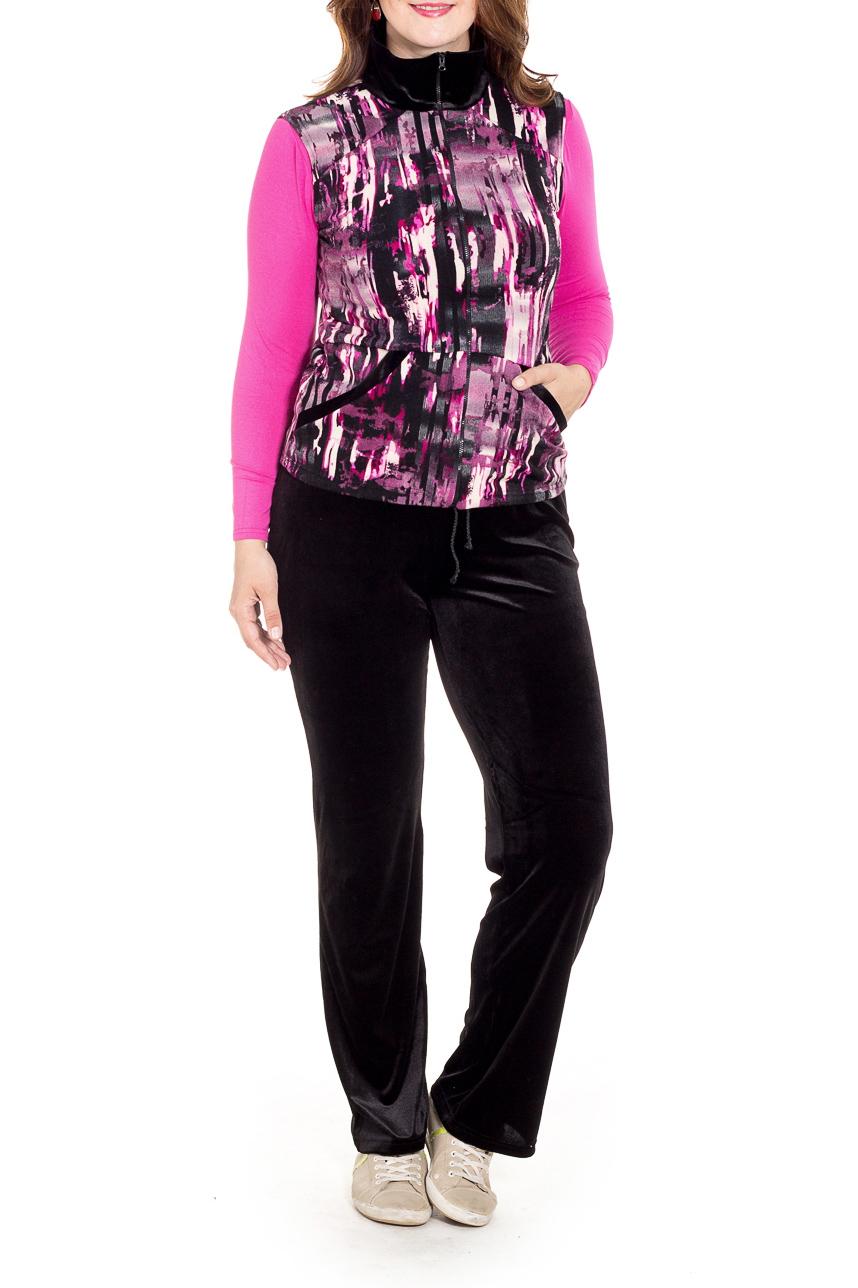 КостюмКостюмы<br>Удобный костюм состоит из брюк, лонгслива и жилета. Отличный выбор для повседневного гардероба или активного отдыха.  В изделии использованы цвета: черный, розовый и др.  Рост девушки-фотомодели 180 см.<br><br>Воротник: Стойка<br>Горловина: С- горловина<br>Застежка: С молнией<br>По длине: Макси<br>По материалу: Бархат,Трикотаж<br>По рисунку: С принтом,Цветные<br>По силуэту: Полуприталенные<br>По стилю: Повседневный стиль<br>По форме: Костюм тройка,Брючный костюм<br>По элементам: С карманами<br>Рукав: Длинный рукав<br>По сезону: Осень,Весна<br>Размер : 48,50,52,54,56<br>Материал: Бархат<br>Количество в наличии: 5