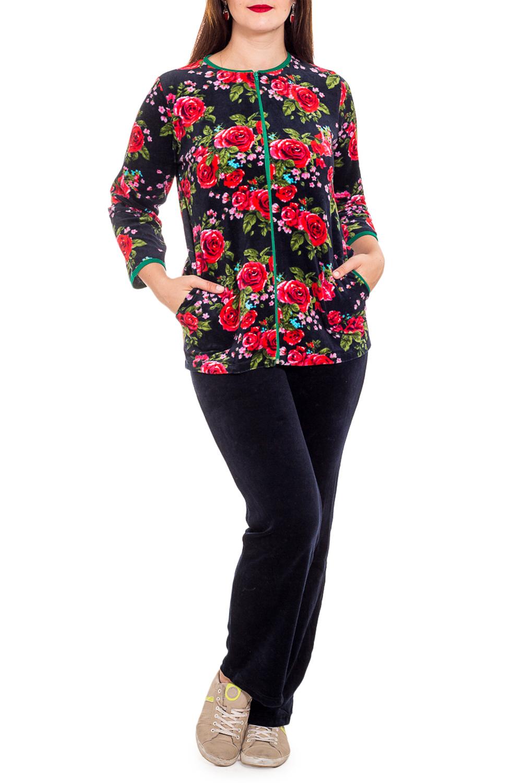 КостюмКомплекты и костюмы<br>Женский костюм с рукавами 3/4. Костюм состоит из кофты и брюк. Домашняя одежда, прежде всего, должна быть удобной, практичной и красивой. В костюме Вы будете чувствовать себя комфортно, особенно, по вечерам после трудового дня.  В изделии использованы цвета: синий, красный, зеленый и др.  Рост девушки-фотомодели 180 см<br><br>Горловина: С- горловина<br>По длине: Макси<br>По рисунку: Растительные мотивы,Цветные,Цветочные,С принтом<br>По сезону: Осень,Зима<br>По силуэту: Полуприталенные<br>По форме: Костюм двойка,Брючный костюм<br>По элементам: С карманами,С молнией<br>Рукав: Рукав три четверти<br>По материалу: Велюр,Хлопок<br>Размер : 48,54,56,60<br>Материал: Велюр<br>Количество в наличии: 5