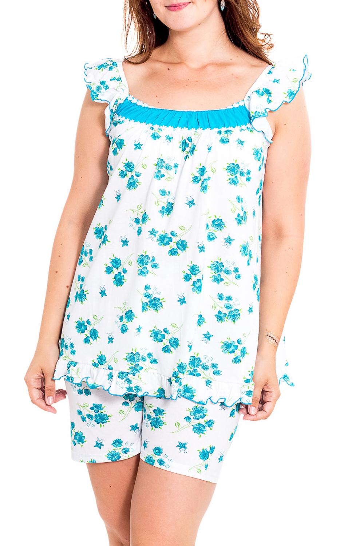 ПижамаПижамы<br>Мягкая хлопковая пижама. Домашняя одежда, прежде всего, должна быть удобной, практичной и красивой. В нашей домашней одежде Вы будете чувствовать себя комфортно, особенно, по вечерам после трудового дня.  В изделии использованы цвета: белый, бирюзовый  Рост девушки-фотомодели 180 см.<br><br>Горловина: С- горловина<br>По рисунку: Растительные мотивы,Цветные,Цветочные,С принтом<br>По сезону: Весна,Зима,Лето,Осень,Всесезон<br>По силуэту: Приталенные<br>По форме: Брючные,Костюм двойка<br>Рукав: Без рукавов<br>По элементам: С воланами и рюшами<br>По материалу: Трикотаж,Хлопок<br>По длине: До колена<br>Размер : 48<br>Материал: Хлопок<br>Количество в наличии: 1