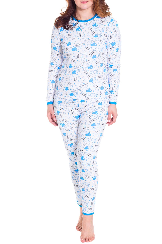 ПижамаПижамы<br>Теплая пижама с длинными рукавами. Пижама состоит из джемпера и брюк. Домашняя одежда, прежде всего, должна быть удобной, практичной и красивой. В пижаме Вы будете чувствовать себя комфортно, особенно, по вечерам после трудового дня.  Цвет: белый, голубой  Рост девушки-фотомодели 180 см<br><br>Горловина: С- горловина<br>По длине: Макси<br>По рисунку: Цветные,С принтом<br>По сезону: Зима,Весна,Лето,Осень,Всесезон<br>По силуэту: Полуприталенные<br>По форме: Брючные,Костюм двойка<br>Рукав: Длинный рукав<br>По элементам: С манжетами<br>По материалу: Трикотаж,Хлопок<br>Размер : 42,50<br>Материал: Хлопок<br>Количество в наличии: 2