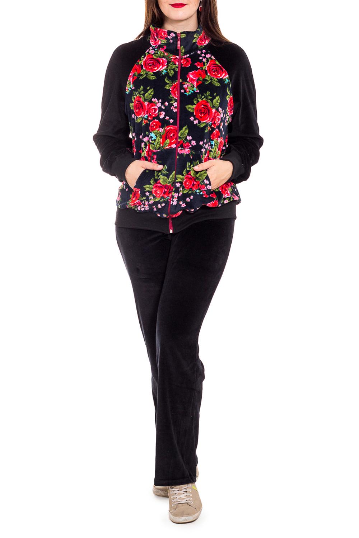 КостюмКомплекты и костюмы<br>Женский костюм с длинными рукавами. Костюм состоит из кофты и брюк. Домашняя одежда, прежде всего, должна быть удобной, практичной и красивой. В костюме Вы будете чувствовать себя комфортно, особенно, по вечерам после трудового дня.  В изделии использованы цвета: черный, темно-синий, красный и др.  Рост девушки-фотомодели 180 см<br><br>Воротник: Стойка<br>По длине: Макси<br>По рисунку: Растительные мотивы,Цветные,Цветочные,С принтом<br>По сезону: Осень,Зима<br>По силуэту: Полуприталенные<br>По форме: Костюм двойка,Брючный костюм<br>По элементам: С карманами,С молнией<br>Рукав: Длинный рукав<br>По материалу: Велюр,Хлопок<br>Размер : 50,52,56<br>Материал: Велюр<br>Количество в наличии: 5