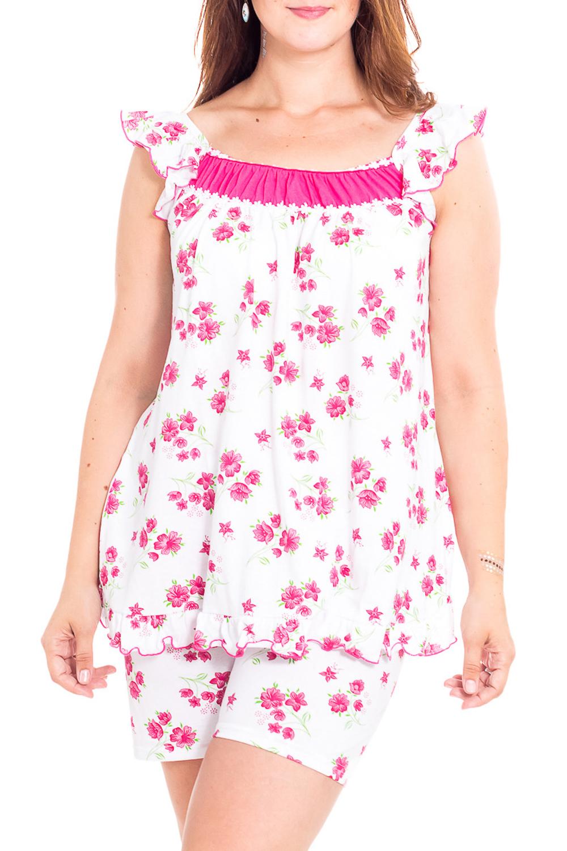 ПижамаПижамы<br>Мягкая хлопковая пижама. Домашняя одежда, прежде всего, должна быть удобной, практичной и красивой. В нашей домашней одежде Вы будете чувствовать себя комфортно, особенно, по вечерам после трудового дня.  В изделии использованы цвета: белый, розовый  Рост девушки-фотомодели 180 см.<br><br>Горловина: С- горловина<br>По рисунку: Растительные мотивы,Цветные,Цветочные,С принтом<br>По сезону: Весна,Зима,Лето,Осень,Всесезон<br>По силуэту: Приталенные<br>По форме: Брючные,Костюм двойка<br>Рукав: Без рукавов<br>По элементам: С воланами и рюшами<br>По материалу: Трикотаж,Хлопок<br>По длине: До колена<br>Размер : 48<br>Материал: Хлопок<br>Количество в наличии: 1