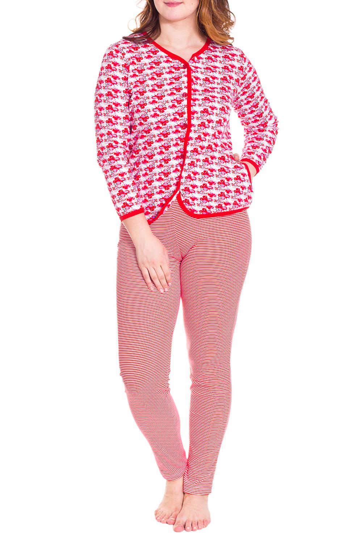 ПижамаПижамы<br>Теплая пижама состоит из кофточки и брюк. Домашняя одежда, прежде всего, должна быть удобной, практичной и красивой. В пижаме Вы будете чувствовать себя комфортно, особенно, по вечерам после трудового дня.  Цвет: красный, белый  Рост девушки-фотомодели 180 см<br><br>По длине: Макси<br>По рисунку: Цветные,В полоску,С принтом<br>По сезону: Зима<br>По силуэту: Полуприталенные<br>По форме: Брючные,Костюм двойка<br>Рукав: Рукав три четверти<br>Горловина: V- горловина<br>По материалу: Хлопок<br>Размер : 46,48,50,52<br>Материал: Хлопок<br>Количество в наличии: 4