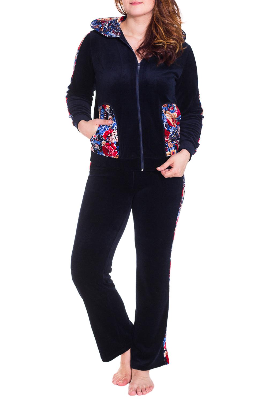 КостюмКомплекты и костюмы<br>Мягкий домашний костюм состоит из кофты и брюк. Домашняя одежда, прежде всего, должна быть удобной, практичной и красивой. В костюме Вы будете чувствовать себя комфортно, особенно, по вечерам после трудового дня.  Цвет: синий, мультицвет  Рост девушки-фотомодели 180 см<br><br>По длине: Макси<br>По рисунку: Растительные мотивы,Цветные,Цветочные<br>По сезону: Зима<br>По силуэту: Полуприталенные<br>По форме: Костюм двойка,Брючный костюм<br>По элементам: С карманами,С молнией<br>Рукав: Длинный рукав<br>По материалу: Велюр,Хлопок<br>Размер : 42<br>Материал: Велюр<br>Количество в наличии: 2