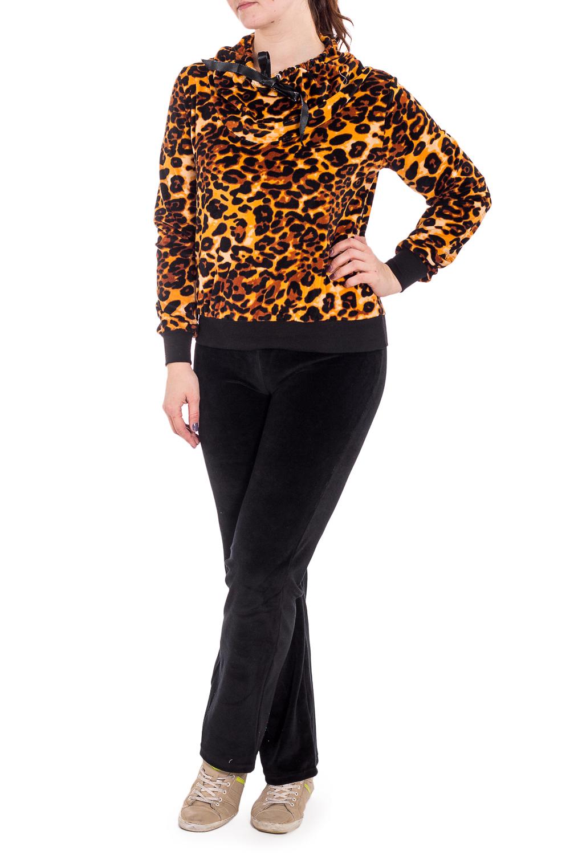 КостюмКомплекты и костюмы<br>Теплый костюм с длинными рукавами. Костюм состоит из кофты и брюк. Домашняя одежда, прежде всего, должна быть удобной, практичной и красивой. В костюме Вы будете чувствовать себя комфортно, особенно, по вечерам после трудового дня.  В изделии использованы цвета: черный, желтый, коричневый др.  Рост девушки-фотомодели 180 см.<br><br>По длине: Макси<br>По материалу: Велюр<br>По рисунку: Животные мотивы,Леопард,С принтом,Цветные<br>По силуэту: Полуприталенные<br>По форме: Костюм двойка,Брючный костюм<br>По элементам: С карманами,С манжетами<br>Рукав: Длинный рукав<br>По сезону: Зима<br>Размер : 48,50,52,56,58,60<br>Материал: Велюр<br>Количество в наличии: 6