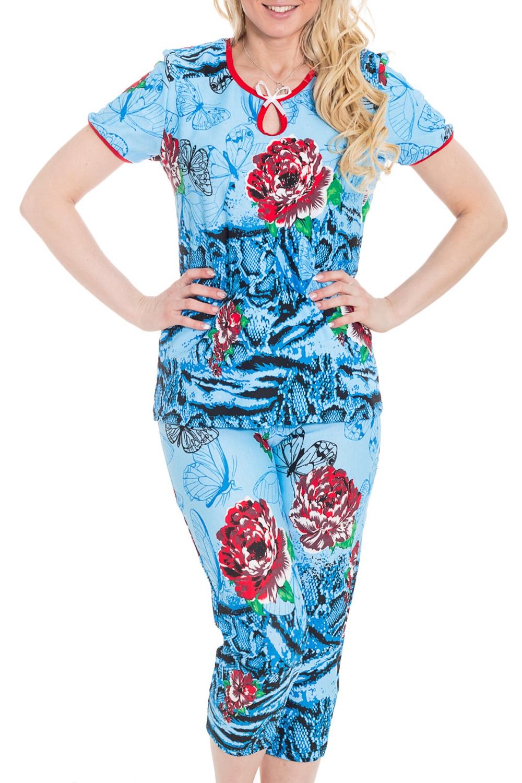 КомплектКомплекты и костюмы<br>Хлопковый комплект состоит из бридж и футболки  Цвет: голубой, мультицвет  Рост девушки-фотомодели 170 см.<br><br>Горловина: С- горловина<br>По материалу: Хлопковые<br>По рисунку: Бабочки,Растительные мотивы,Цветные,Цветочные,С принтом<br>По силуэту: Полуприталенные<br>По форме: Брючные,Костюм двойка<br>Рукав: Короткий рукав<br>По сезону: Осень,Весна<br>По длине: Ниже колена<br>Размер : 44,46,48,50,52,54,56,58<br>Материал: Хлопок<br>Количество в наличии: 5
