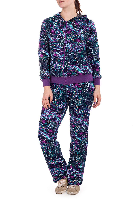 КостюмКомплекты и костюмы<br>Теплый костюм с длинными рукавами. Костюм состоит из кофты и брюк. Домашняя одежда, прежде всего, должна быть удобной, практичной и красивой. В костюме Вы будете чувствовать себя комфортно, особенно, по вечерам после трудового дня.  В изделии использованы цвета: синий, фиолетовый и др.  Рост девушки-фотомодели 180 см.<br><br>По длине: Макси<br>По материалу: Трикотаж,Хлопок<br>По рисунку: С принтом,Цветные,Цветочные<br>По силуэту: Полуприталенные<br>По форме: Брючные,Костюм двойка<br>По элементам: С карманами,С манжетами,С молнией<br>Рукав: Длинный рукав<br>По сезону: Осень,Весна<br>Размер : 48,50<br>Материал: Трикотаж<br>Количество в наличии: 4