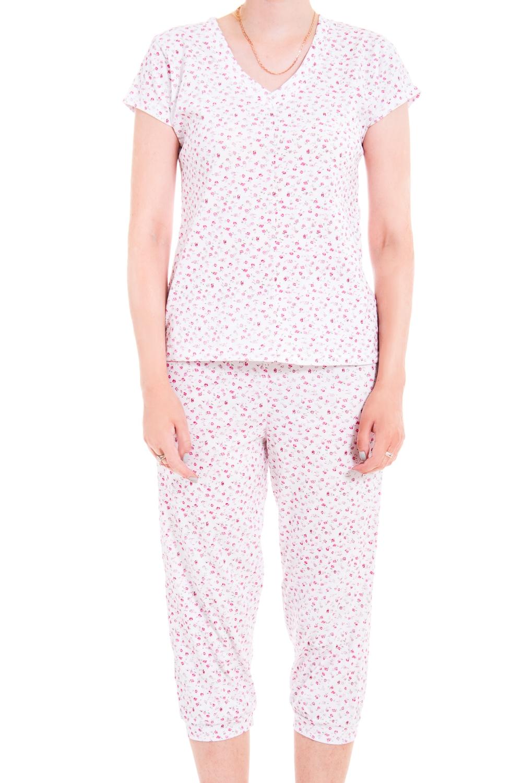 ПижамаПижамы<br>Мягкая хлопковая пижама. Домашняя одежда, прежде всего, должна быть удобной, практичной и красивой. В нашей домашней одежде Вы будете чувствовать себя комфортно, особенно, по вечерам после трудового дня.  В изделии использованы цвета: белый, розовый  Ростовка изделия 170 см.<br><br>Горловина: V- горловина<br>По рисунку: Растительные мотивы,Цветные,Цветочные,С принтом<br>По сезону: Весна,Зима,Лето,Осень,Всесезон<br>По силуэту: Полуприталенные<br>По форме: Брючные,Костюм двойка<br>Рукав: Короткий рукав<br>По материалу: Хлопок<br>По длине: Ниже колена<br>Размер : 42-44<br>Материал: Хлопок<br>Количество в наличии: 1