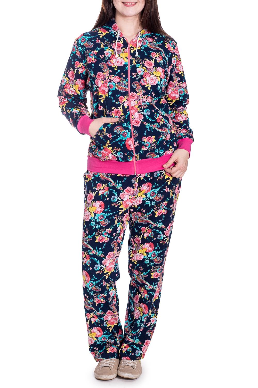 КостюмКомплекты и костюмы<br>Домашний костюм из эластичного трикотажа. Домашняя одежда, прежде всего, должна быть удобной, практичной и красивой. В наших изделиях Вы будете чувствовать себя комфортно, особенно, по вечерам после трудового дня.  В изделии использованы цвета: синий, розовый и др.  Рост девушки-фотомодели 180 см.<br><br>По длине: Макси<br>По материалу: Трикотаж,Хлопок<br>По рисунку: Растительные мотивы,С принтом,Цветные,Цветочные<br>По сезону: Весна,Зима,Лето,Осень,Всесезон<br>По силуэту: Полуприталенные<br>По форме: Брючные,Костюм двойка<br>По элементам: С карманами,С манжетами,С молнией<br>Рукав: Длинный рукав<br>Размер : 56<br>Материал: Трикотаж<br>Количество в наличии: 1