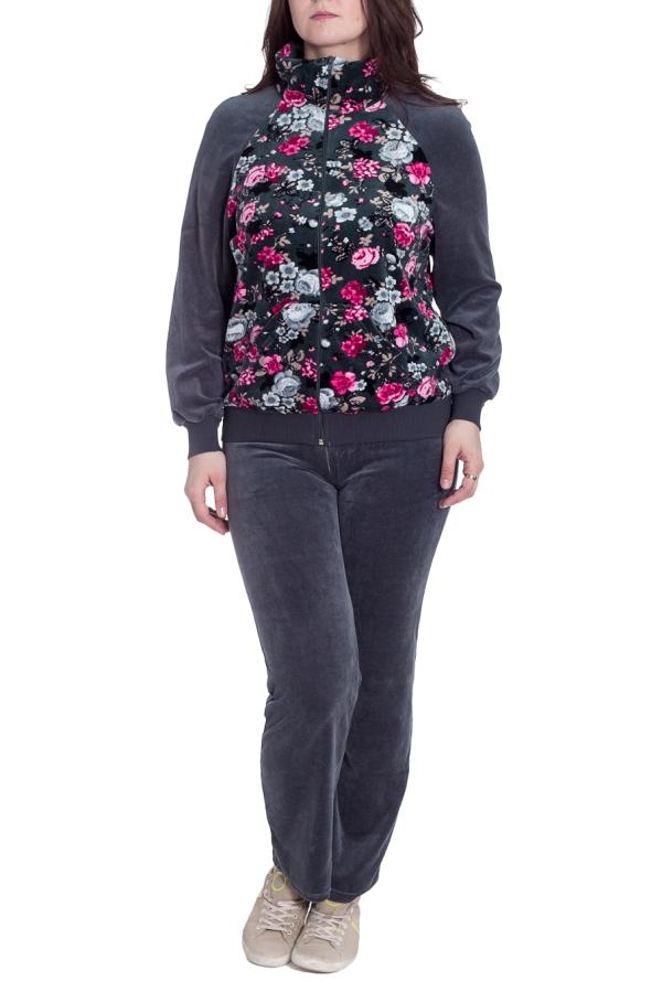 КостюмКомплекты и костюмы<br>Женский костюм с застежкой на молнию. Домашняя одежда, прежде всего, должна быть удобной, практичной и красивой. В костюме Вы будете чувствовать себя комфортно, особенно, по вечерам после трудового дня.  В изделии использованы цвета: серый, розовый и др.  Размер 74 соответствует росту 70-73 см Размер 80 соответствует росту 74-80 см Размер 86 соответствует росту 81-86 см Размер 92 соответствует росту 87-92 см Размер 98 соответствует росту 93-98 см Размер 104 соответствует росту 98-104 см Размер 110 соответствует росту 105-110 см Размер 116 соответствует росту 111-116 см Размер 122 соответствует росту 117-122 см Размер 128 соответствует росту 123-128 см Размер 134 соответствует росту 129-134 см Размер 140 соответствует росту 135-140 см Размер 146 соответствует росту 141-146 см<br><br>Воротник: Стойка<br>По длине: Макси<br>По материалу: Велюр<br>По рисунку: Растительные мотивы,С принтом,Цветные<br>По сезону: Весна,Осень,Зима<br>По силуэту: Полуприталенные<br>По форме: Брючный костюм,Костюм двойка<br>По элементам: С карманами,С манжетами<br>Рукав: Длинный рукав<br>Размер : 48<br>Материал: Велюр<br>Количество в наличии: 1