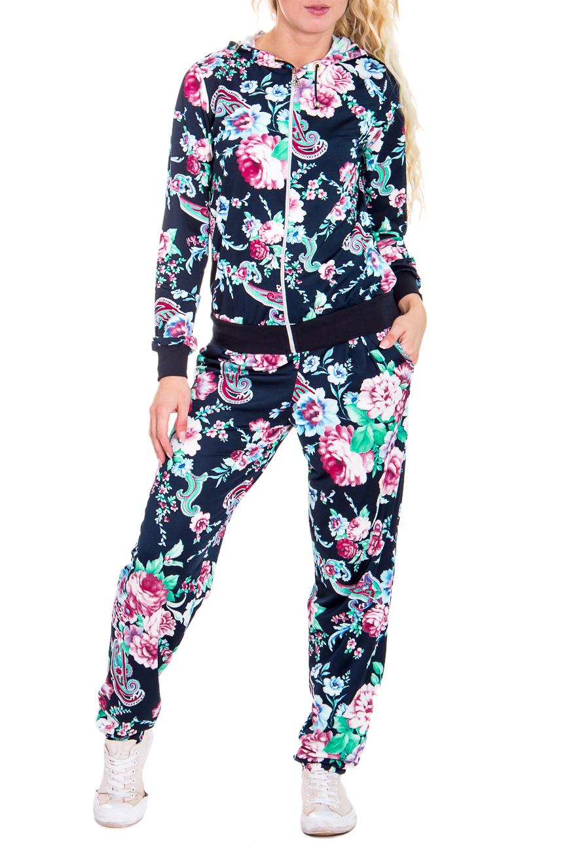 КостюмСпортивные костюмы<br>Спортивный костюм из эластичного трикотажа. Отличный выбор для занятий спортом или активного отдыха  Цвет: синий, розовый, бирюзовый  Рост девушки-фотомодели 170 см.<br><br>По длине: Макси<br>По рисунку: Растительные мотивы,Цветные,Цветочные,С принтом<br>По сезону: Весна,Осень<br>По силуэту: Полуприталенные<br>По форме: Костюм двойка,Спортивные брюки<br>По элементам: С капюшоном,С карманами,С манжетами<br>Рукав: Длинный рукав<br>По стилю: Спортивный стиль,Молодежный стиль<br>Застежка: С молнией<br>Размер : 42<br>Материал: Трикотаж<br>Количество в наличии: 1