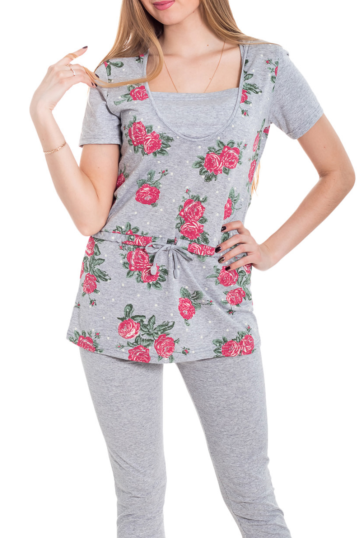 КомплектКомплекты и костюмы<br>Хлопковый костюм состоит из бридж и туники. Домашняя одежда, прежде всего, должна быть удобной, практичной и красивой. В наших изделиях Вы будете чувствовать себя комфортно, особенно, по вечерам после трудового дня.  Цвет: серый, розовый, зеленый  Рост девушки-фотомодели 170 см<br><br>Горловина: С- горловина<br>По рисунку: Растительные мотивы,Цветные,Цветочные,С принтом<br>По силуэту: Полуприталенные<br>По форме: Костюм двойка,Брючный костюм<br>Рукав: Короткий рукав<br>По сезону: Осень,Весна<br>По длине: Ниже колена<br>По материалу: Трикотаж,Хлопок<br>Размер : 44,46,48,50<br>Материал: Трикотаж<br>Количество в наличии: 37