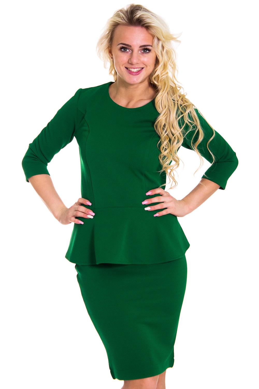 КостюмКостюмы<br>Красивый костюм состоит из блузки и юбки. Модель выполнена из плотного трикотажа. Отличный выбор для повседневного и делового гардероба.  Цвет: зеленый  Рост девушки-фотомодели 170 см<br><br>Горловина: С- горловина<br>По длине: До колена<br>По материалу: Трикотаж<br>По образу: Город,Офис,Свидание<br>По рисунку: Однотонные<br>По сезону: Весна,Осень<br>По силуэту: Полуприталенные<br>По стилю: Офисный стиль,Повседневный стиль<br>По форме: Костюм двойка,Юбочные<br>По элементам: С баской<br>Рукав: Рукав три четверти<br>Размер : 44,46,48<br>Материал: Трикотаж<br>Количество в наличии: 1