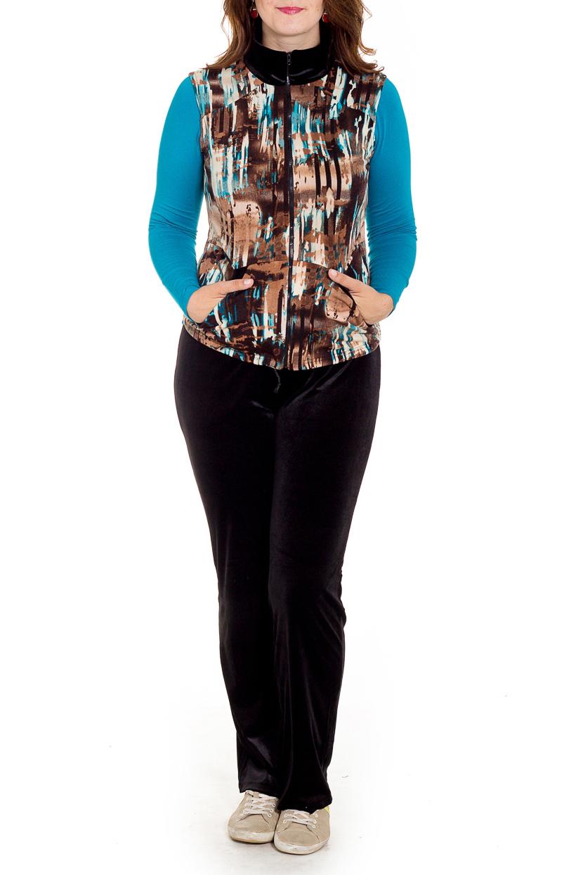 КостюмКостюмы<br>Удобный костюм состоит из брюк, лонгслива и жилета. Отличный выбор для повседневного гардероба или активного отдыха.  В изделии использованы цвета: черный, коричневый, голубой и др.  Рост девушки-фотомодели 180 см.<br><br>Воротник: Стойка<br>Горловина: С- горловина<br>Застежка: С молнией<br>По длине: Макси<br>По материалу: Бархат,Трикотаж<br>По рисунку: С принтом,Цветные<br>По силуэту: Полуприталенные<br>По стилю: Повседневный стиль<br>По форме: Костюм тройка,Брючный костюм<br>По элементам: С карманами<br>Рукав: Длинный рукав<br>По сезону: Осень,Весна<br>Размер : 48,50,52<br>Материал: Бархат<br>Количество в наличии: 3