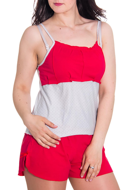 Комплект (майка+шорты)Комплекты и костюмы<br>Женский комплект без рукавов. Комплект состоит из майки и шортиков. Домашняя одежда, прежде всего, должна быть удобной, практичной и красивой. В комплекте Вы будете чувствовать себя комфортно, особенно, по вечерам после трудового дня.  Цвет: белый, красный  Рост девушки-фотомодели 180 см<br><br>Бретели: Тонкие бретели<br>По длине: Мини<br>По материалу: Хлопковые<br>По рисунку: Цветные<br>По силуэту: Полуприталенные<br>По стилю: Повседневные<br>По форме: Брючные,Костюм двойка<br>По элементам: Без рукавов<br>По сезону: Лето<br>Размер : 42,48,50<br>Материал: Хлопок<br>Количество в наличии: 7