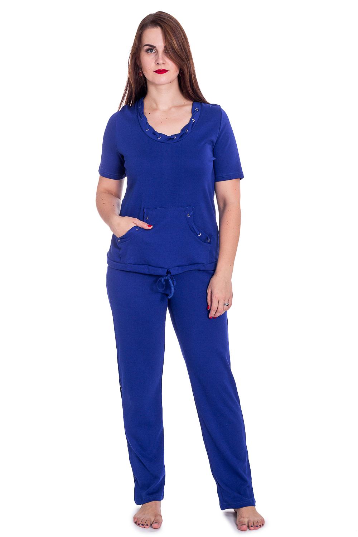 КостюмКомплекты и костюмы<br>Трикотажный костюм состоит из брюк и футболки. Домашняя одежда, прежде всего, должна быть удобной, практичной и красивой. В наших изделиях Вы будете чувствовать себя комфортно, особенно, по вечерам после трудового дня.  В изделии использованы цвета: синий  Рост девушки-фотомодели 180 см<br><br>Горловина: С- горловина<br>По длине: Макси<br>По материалу: Трикотаж,Хлопок<br>По рисунку: Однотонные<br>По сезону: Весна,Зима,Лето,Осень,Всесезон<br>По силуэту: Полуприталенные<br>По форме: Брючные,Костюм двойка<br>По элементам: С декором<br>Рукав: Короткий рукав<br>Размер : 52,54,56,58<br>Материал: Трикотаж<br>Количество в наличии: 1