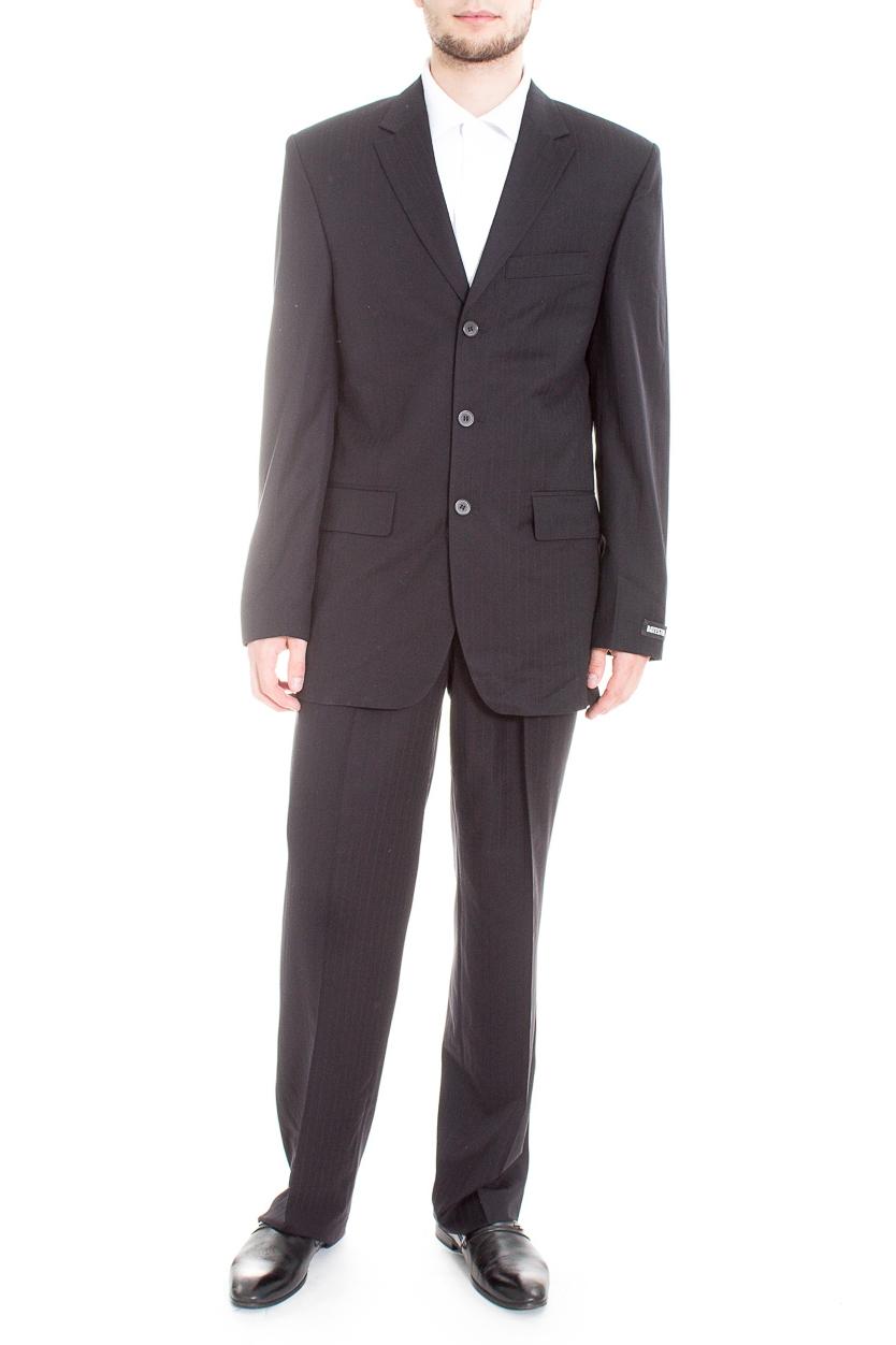 КостюмКостюмы<br>Мужской деловой костюм в полоску.  Цвет: черный  Ростовка изделия: 176 см.  Рост мужчины-фотомодели 182 см<br><br>По сезону: Всесезон<br>Размер : 46,48,50,52,56<br>Материал: Костюмная ткань<br>Количество в наличии: 7