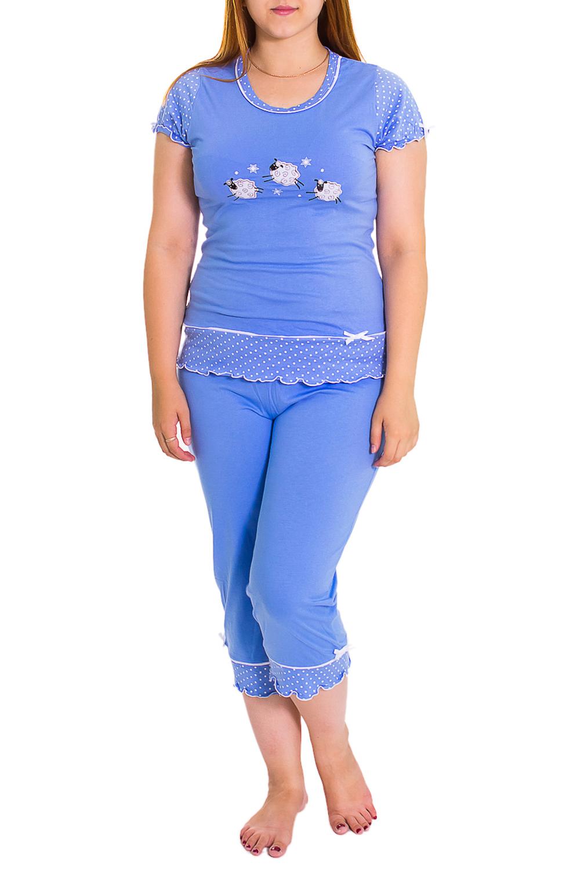 КомплектКомплекты и костюмы<br>Домашний хлопковый комплект. Комплект состоит из бридж и футболки. Домашняя одежда, прежде всего, должна быть удобной, практичной и красивой. В нашей домашней одежде Вы будете чувствовать себя комфортно, особенно, по вечерам после трудового дня.  Цвет: синий, белый<br><br>По силуэту: Полуприталенные<br>По форме: Костюм двойка,Брючный костюм<br>Горловина: С- горловина<br>По рисунку: Однотонные,С принтом<br>По сезону: Весна,Осень<br>Рукав: Короткий рукав,Без рукавов<br>По длине: Ниже колена<br>По материалу: Трикотаж,Хлопок<br>Размер : 48<br>Материал: Хлопок<br>Количество в наличии: 1