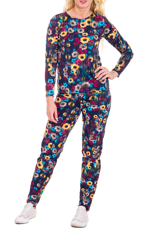 КостюмКомплекты и костюмы<br>Женский костюм с длинными рукавами. Комплект состоит из джемпера и брюк. Домашняя одежда, прежде всего, должна быть удобной, практичной и красивой. В костюме Вы будете чувствовать себя комфортно, особенно, по вечерам после трудового дня.Цвет: синий, фиолетовый, желтый, голубойРост девушки-фотомодели 170 см<br><br>Горловина: С- горловина<br>Рукав: Длинный рукав<br>Длина: Макси<br>Материал: Трикотаж,Хлопок<br>Рисунок: Растительные мотивы,Цветные,Цветочные,С принтом<br>Сезон: Зима<br>Силуэт: Полуприталенные<br>Форма: Брючный костюм,Костюм двойка<br>Размер : 44<br>Материал: Трикотаж<br>Количество в наличии: 1