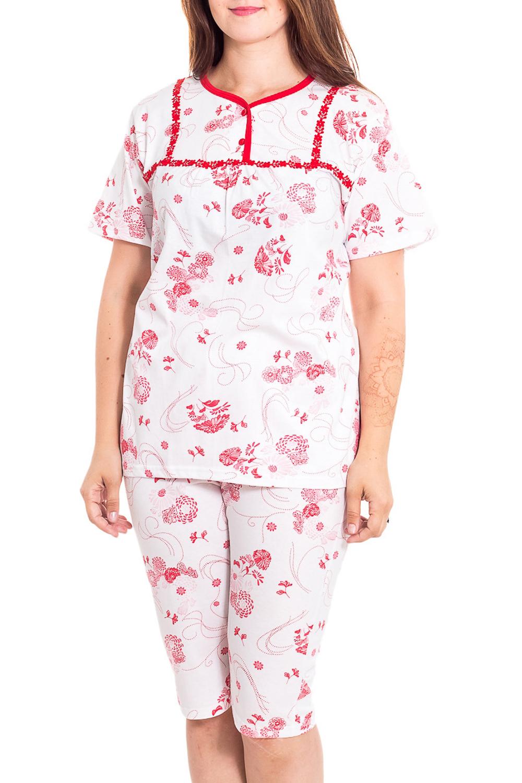 ПижамаПижамы<br>Хлопковая пижама состоит из туники и бридж. Домашняя одежда, прежде всего, должна быть удобной, практичной и красивой. В наших изделиях Вы будете чувствовать себя комфортно, особенно, по вечерам после трудового дня.  В изделии использованы цвета: белый, красный  Рост девушки-фотомодели 180 см<br><br>Горловина: С- горловина<br>По рисунку: Растительные мотивы,Цветные,Цветочные,С принтом<br>По сезону: Весна,Зима,Лето,Осень,Всесезон<br>По силуэту: Полуприталенные<br>Рукав: Короткий рукав<br>По материалу: Хлопок<br>Размер : 54,56<br>Материал: Хлопок<br>Количество в наличии: 2