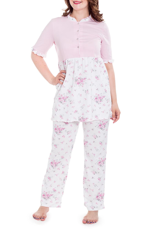 КомплектКомплекты и костюмы<br>Домашний комплект состоит из туники и брюк. Домашняя одежда, прежде всего, должна быть удобной, практичной и красивой. В нашей домашней одежде Вы будете чувствовать себя комфортно, особенно, по вечерам после трудового дня.  Цвет: белый, розовый  Рост девушки-фотомодели 180 см<br><br>Горловина: С- горловина<br>По длине: Макси<br>По материалу: Трикотажные,Хлопковые<br>По рисунку: С принтом (печатью),Цветные,Цветочные<br>По сезону: Весна,Зима,Лето,Осень,Всесезон<br>По силуэту: Полуприталенные<br>По стилю: Повседневные<br>По форме: Брючные<br>Рукав: Короткий рукав<br>Размер : 46,48,50,52<br>Материал: Трикотаж<br>Количество в наличии: 4