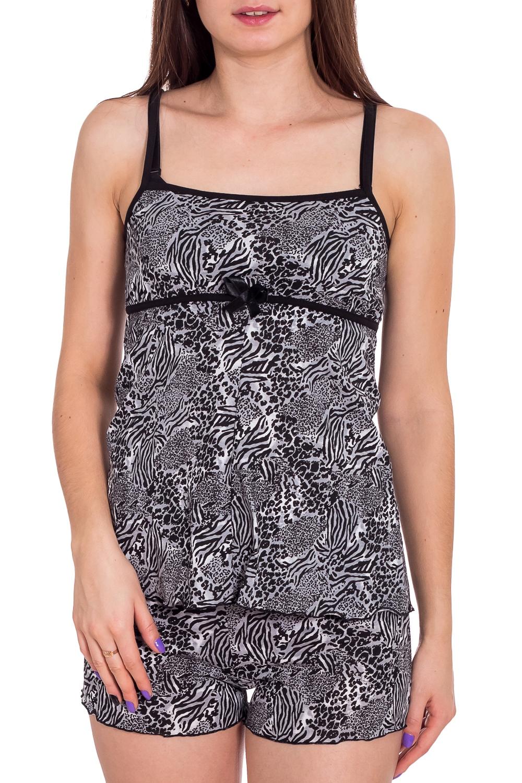 ПижамаПижамы<br>Хлопковая пижама состоит из майки и шортиков. Домашняя одежда, прежде всего, должна быть удобной, практичной и красивой. В наших изделиях Вы будете чувствовать себя комфортно, особенно, по вечерам после трудового дня.  В изделии использованы цвета: серый, черный  Рост девушки-фотомодели 173 см.<br><br>Бретели: Тонкие бретели<br>По длине: До колена<br>По материалу: Трикотаж,Хлопок<br>По рисунку: Леопард,С принтом,Цветные<br>По сезону: Весна,Зима,Лето,Осень,Всесезон<br>По силуэту: Полуприталенные<br>По форме: Брючные,Костюм двойка<br>Рукав: Без рукавов<br>Размер : 40,42<br>Материал: Трикотаж<br>Количество в наличии: 2