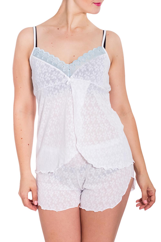 ПижамаПижамы<br>Хлопковая пижама состоит из майки и шортиков. Домашняя одежда, прежде всего, должна быть удобной, практичной и красивой. В наших изделиях Вы будете чувствовать себя комфортно, особенно, по вечерам после трудового дня.  В изделии использованы цвета: белый, голубой  Рост девушки-фотомодели 180 см.<br><br>Бретели: Тонкие бретели<br>По длине: До колена<br>По материалу: Трикотаж,Хлопок<br>По рисунку: Однотонные<br>По сезону: Весна,Зима,Лето,Осень,Всесезон<br>По силуэту: Полуприталенные<br>По форме: Брючные,Костюм двойка<br>Рукав: Без рукавов<br>Размер : 48<br>Материал: Трикотаж<br>Количество в наличии: 1