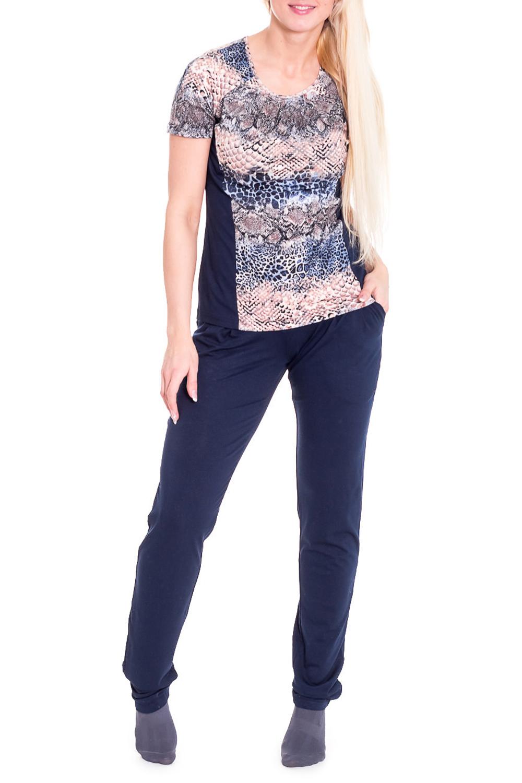 КомплектКомплекты и костюмы<br>Комплект состоит из футболки и брюк. Футболка прилегающего силуэта, длиной до линии бёдер.  Брюки длинные, прямого силуэта.  Цвет: синий, бежевый  Рост девушки-фотомодели 170 см.<br><br>Горловина: С- горловина<br>По материалу: Вискоза,Трикотаж<br>По рисунку: Рептилия,Цветные,С принтом<br>По сезону: Весна,Осень,Зима,Лето,Всесезон<br>По силуэту: Полуприталенные<br>По форме: Брючные,Костюм двойка<br>Рукав: Короткий рукав<br>По длине: Макси<br>Размер : 44<br>Материал: Вискоза<br>Количество в наличии: 2