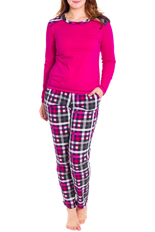 КомплектКомплекты и костюмы<br>Костюм состоит из брюк и кофты с длинными рукавами.  Цвет: розовый, серый, белый  Рост девушки-фотомодели 180 см.<br><br>Горловина: С- горловина<br>По длине: Макси<br>По рисунку: Цветные,В клетку<br>По силуэту: Полуприталенные<br>По форме: Брючные,Костюм двойка<br>Рукав: Длинный рукав<br>По сезону: Зима<br>По материалу: Хлопок<br>Размер : 46<br>Материал: Хлопок<br>Количество в наличии: 1