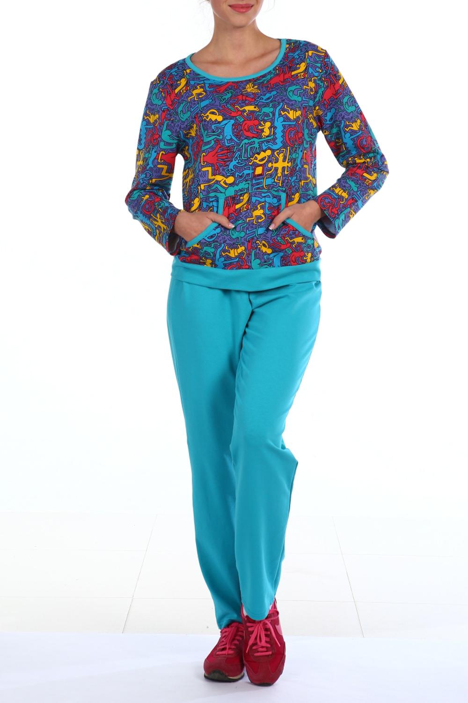 КостюмКомплекты и костюмы<br>Хлопковый костюм состоит из джемпера и брюк. Домашняя одежда, прежде всего, должна быть удобной, практичной и красивой. В костюме Вы будете чувствовать себя комфортно, особенно, по вечерам после трудового дня.  В изделии использованы цвета: голубой и др.  Ростовка изделия 170 см.<br><br>Горловина: С- горловина<br>По длине: Макси<br>По материалу: Хлопок<br>По рисунку: С принтом,Цветные<br>По сезону: Весна,Зима,Лето,Осень,Всесезон<br>По силуэту: Полуприталенные<br>По форме: Брючные,Костюм двойка<br>По элементам: С карманами<br>Рукав: Длинный рукав<br>Размер : 50<br>Материал: Футер<br>Количество в наличии: 1