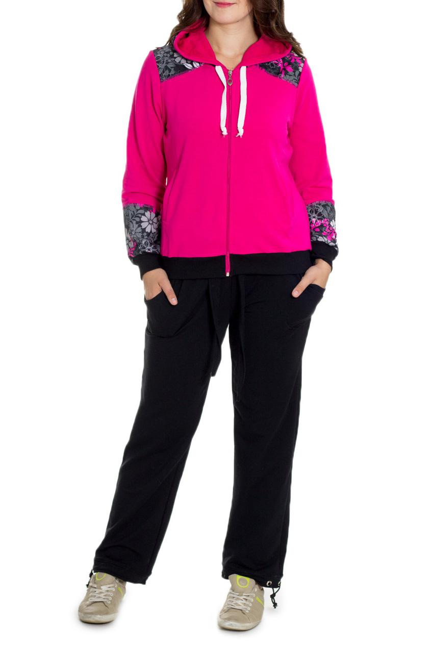 КостюмСпортивные костюмы<br>Цветной костюм из эластичного трикотажа. Отличный выбор для занятий спортом или активного отдыха.  Цвет: розовый, черный и др.  Рост девушки-фотомодели 180 см.<br><br>Застежка: С молнией<br>По длине: Макси<br>По материалу: Трикотаж,Хлопок<br>По рисунку: С принтом,Цветные<br>По силуэту: Полуприталенные<br>По стилю: Повседневный стиль<br>По форме: Костюм двойка,Спортивные брюки<br>По элементам: С карманами,С манжетами<br>Рукав: Длинный рукав<br>По сезону: Осень,Весна<br>Размер : 46,50,52,54,56<br>Материал: Трикотаж<br>Количество в наличии: 7