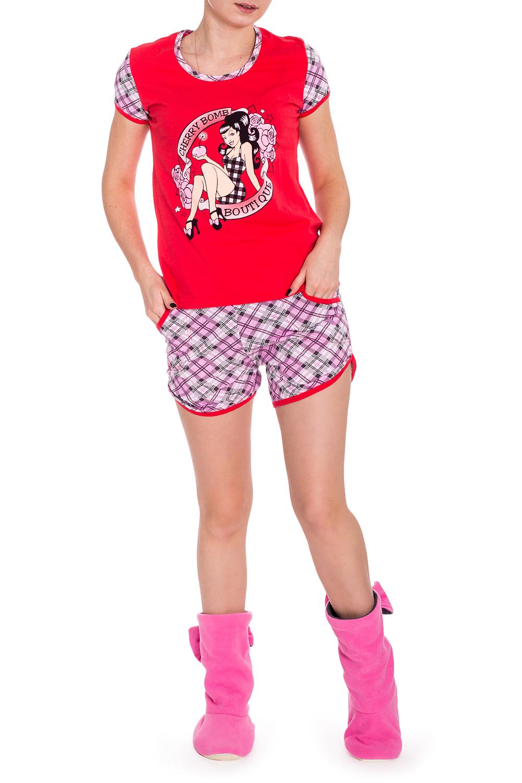 КостюмКомплекты и костюмы<br>Хлопковый комплект состоит из футболки и шортиков. Домашняя одежда, прежде всего, должна быть удобной, практичной и красивой. В наших изделиях Вы будете чувствовать себя комфортно, особенно, по вечерам после трудового дня.  В изделии использованы цвета: красный, розовый и др.  Рост девушки-фотомодели 173 см.<br><br>Горловина: С- горловина<br>По длине: До колена<br>По материалу: Хлопок<br>По рисунку: В клетку,С принтом,Цветочные<br>По сезону: Весна,Зима,Лето,Осень,Всесезон<br>По силуэту: Полуприталенные<br>По форме: Брючные,Костюм двойка<br>По элементам: С карманами<br>Рукав: Короткий рукав<br>Размер : 44<br>Материал: Хлопок<br>Количество в наличии: 1