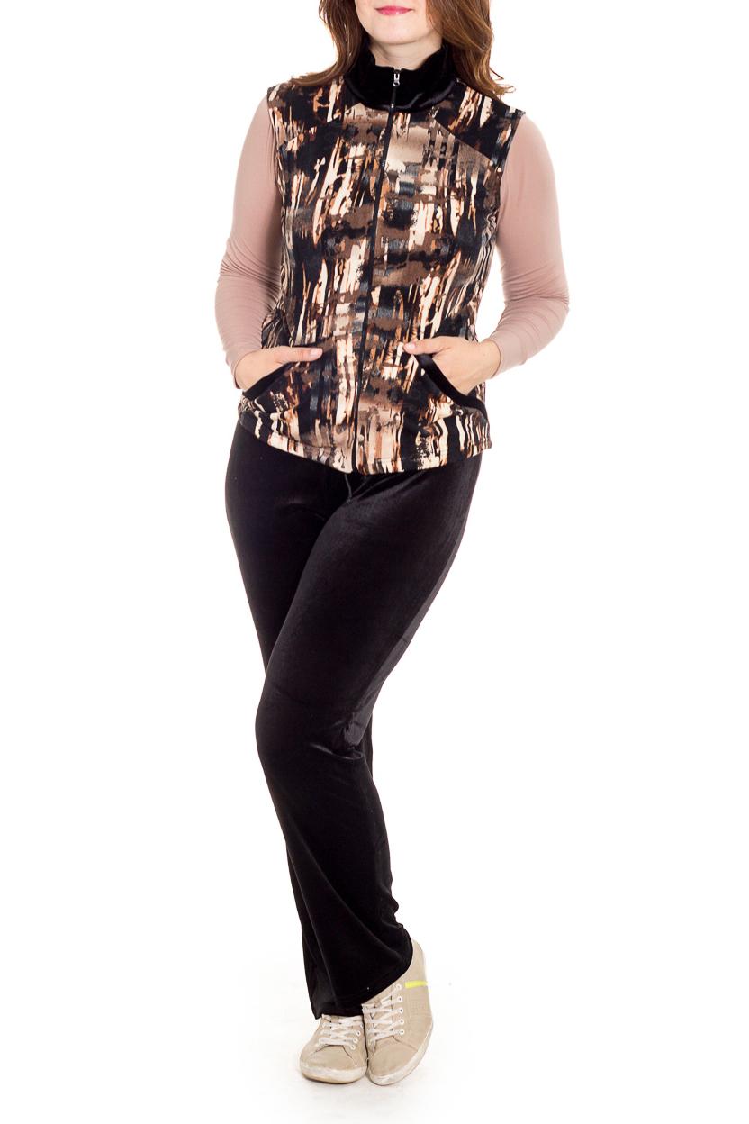 КостюмКостюмы<br>Удобный костюм состоит из брюк, лонгслива и жилета. Отличный выбор для повседневного гардероба или активного отдыха.  В изделии использованы цвета: черный, коричневый, бежевый и др.  Рост девушки-фотомодели 180 см.<br><br>Воротник: Стойка<br>Горловина: С- горловина<br>Застежка: С молнией<br>По длине: Макси<br>По материалу: Бархат,Трикотаж<br>По рисунку: С принтом,Цветные<br>По силуэту: Полуприталенные<br>По стилю: Повседневный стиль<br>По форме: Костюм тройка,Брючный костюм<br>По элементам: С карманами<br>Рукав: Длинный рукав<br>По сезону: Осень,Весна<br>Размер : 48,50<br>Материал: Бархат<br>Количество в наличии: 2